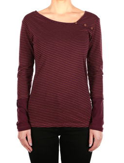 Asym Stripe Button LS [aubergine]