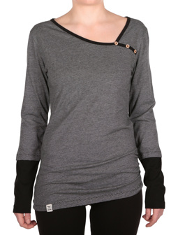 Asym Stripe Button LS [black]