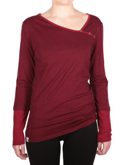 Asym Stripe Button LS [bordeaux red]