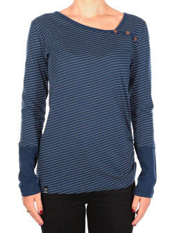 Asym Stripe Button LS [navy white]