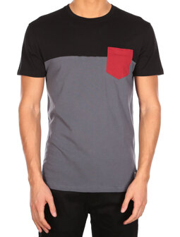 Block Pocket 2 Tee [black red]