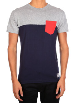 Block Pocket 2 Tee [blue red]