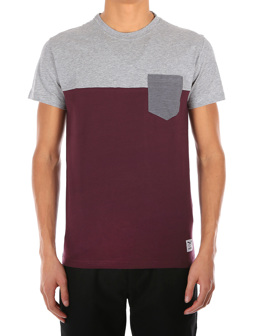 Block Pocket Tee [red wine]