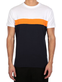 Court Tee [navy orange]