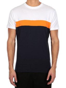 Court Tee [navy orange]