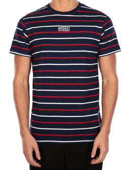 Lone Stripe Tee [navy red]