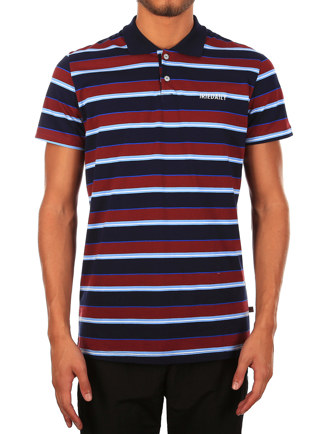 Tony Stripe Polo [navy red]